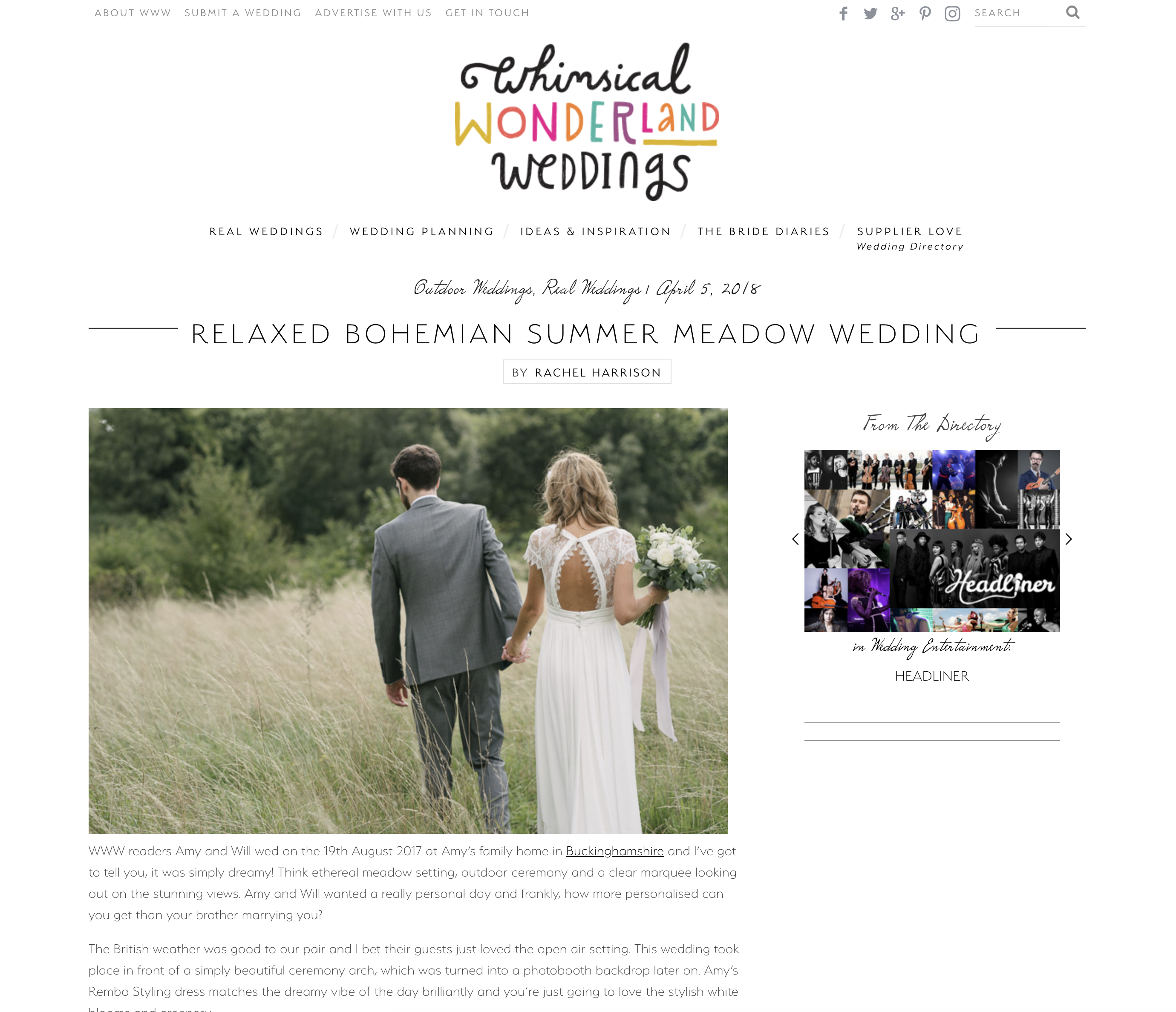 Amy and Will's Summer Meadow Wedding featured Online » Kari ...