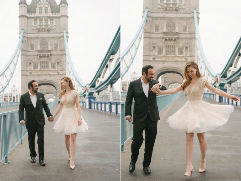 Bride and Groom on London's Tower Bridge