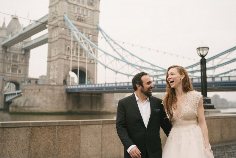 Bride and Groom near London's Tower Bridge