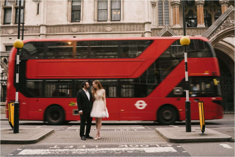 Bride and Groom with London double decker bus