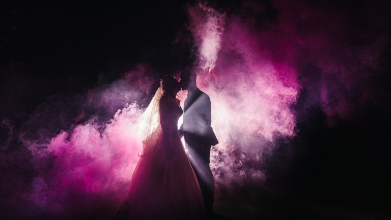 abstract photo of couple on their wedding day