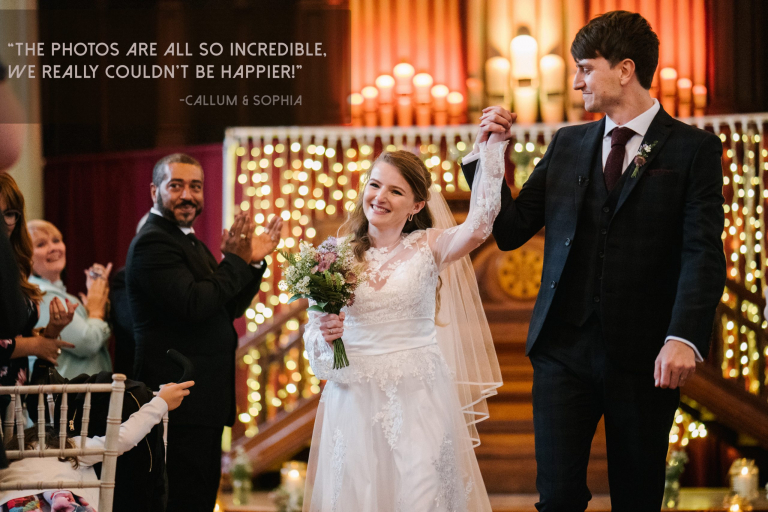 couple walking down the aisle after they get married in London