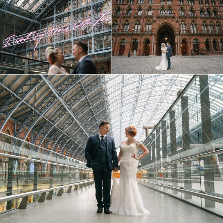 bride and groom in londons saint pancras station