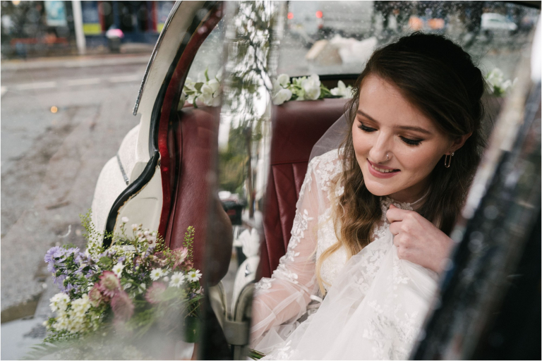 Bride arriving for wedding at The Round Chapel in Hackney, London